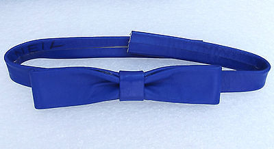 Royal blue English bow tie Real leather